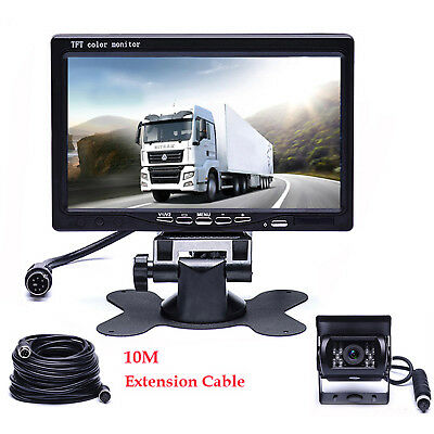 """For Bus Truck RV Caravan Trailers Rear view 4PIN KIT 7"""" LCD Monitor CCD Camera"""