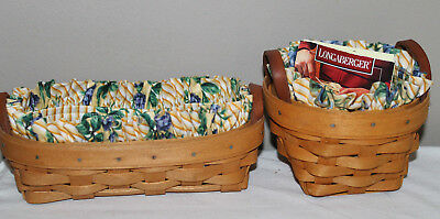 Lot Of 2  Longaberger  Booking Baskets, Thyme, Protector, Fabric, Card, Lavender