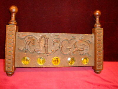 Antique Architectural Wood Carved Wall Hanging with 5 oval photo holders C.1890