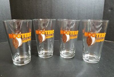 "Hooters Pint Glasses Set of 4 Beer Mug  Collectibles ""Makes You Happy"""