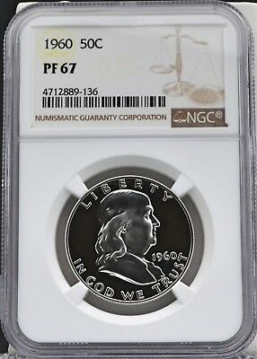 1960 Franklin Half Dollar Proof 50C NGC PF 67 - Shows Cameo Contrast Both Sides