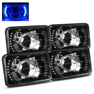 (4 Lamps System) 4x6 Semi-Sealed Blue LED Black Crystal Projector Headlights