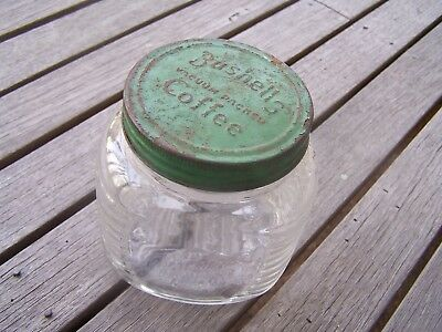 Vintage Bushells Coffee Embossed Glass Jar With Embossed Metal Lid