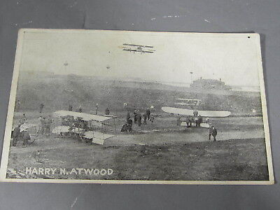 Early 1900s Aviation Postcard HARRY N. ATWOOD Biplane Airfield Scene /Max Rigot