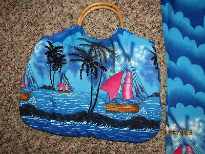 Blue With Black Beads- Hawaiian Dress And Matching Purse-Cz Cover-Ups-Xl Size