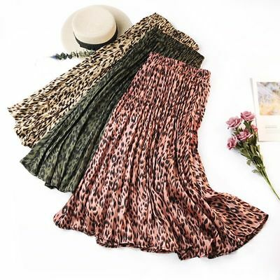 Women Leopard Print Big Hem Pleated Swing Skirt Ladies Casual Mid Waist Dress AU