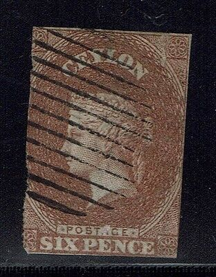 Ceylon SG# 6 - Purple Brown - Used - Lot 022116