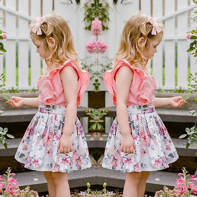 New Toddler Baby Girls Sleeveless T-shirt Tops Floral Skirt Dress Outfit Clothes