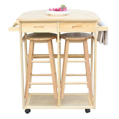 Portable Rolling Dining Table Set Wooden Kitchen Island Trolley Cart Storage