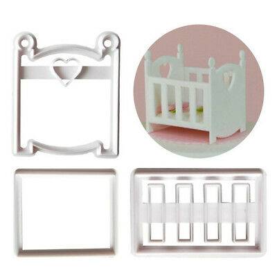Baby cot Plastic Cookie Cutter Fondant Cutter Cake Mold Cake Decorating Tool FEH