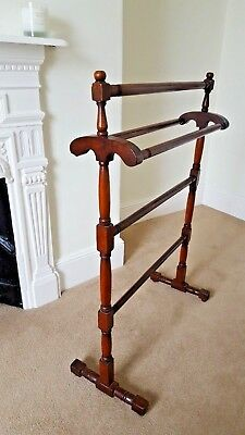 Antique Victorian Turned Wood Freestanding Towel Rail (Clothes Airing Rail)