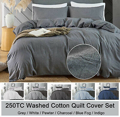 Washed COTTON Quilt Cover Grey White Doona Cover Set Single / Queen / Super King
