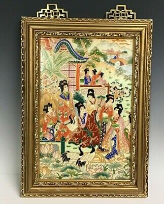 Antique Chinese Painting On Porcelain Plaque
