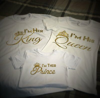 Family - King,Queen,Princess or Prince T-Shirt - White w/ Gold Graphics