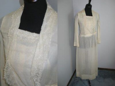 Antique Edwardian Dress Vintage Embroidered French Tambour Net Lace Wedding-Silk