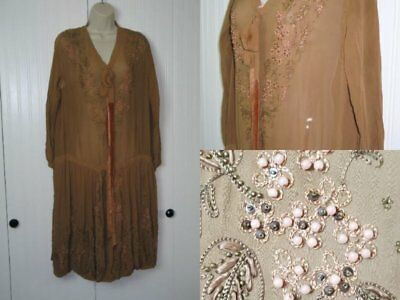 Antique 1920s Flapper Dress /Flapper Gatsby Dress / Hand Beaded Silk Chiffon / M