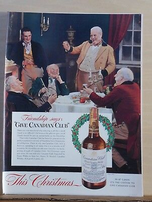 1941 magazine ad for Canadian Club - Dickens era men at jolly Christmas repast