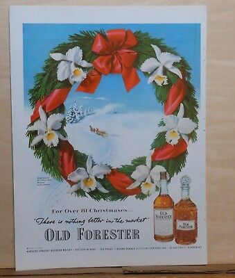 1951 magazine ad for Old Forester Whiskey - sleigh, wreath, over 81 Christmases