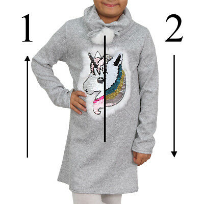 e2a595993da95 FILLE PULL ROBE Enfant Pull Sweat Réversible Paillettes Licorne Col ...