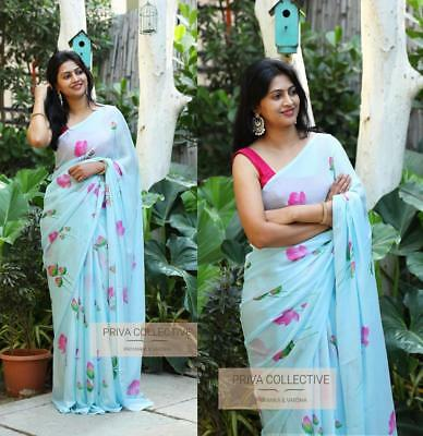 Georgette Blue Designer Saree Party Wear Heavy Blouse Indian Bollywood Sari