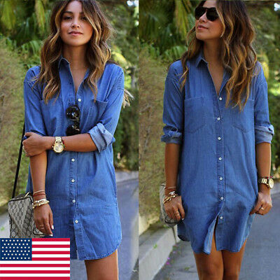 9ff85c46cfe HOT Women s Blue Jeans Denim T-Shirt Long Sleeve Casual Loose Shirt Mini  Dress