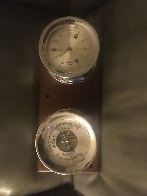 Vintage Salem Ship Bell 8 Day Jeweled Clock Barometer Set Wood Mount
