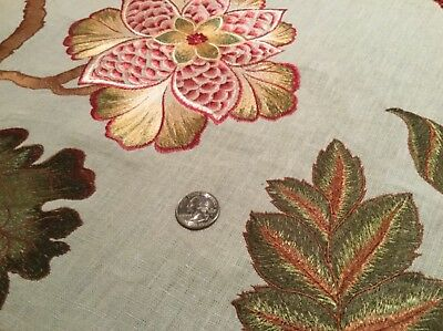 4/5yd KRAVET Couture Floral Mineral 100% Linen Embroidery Fabric 3572.913 $200R