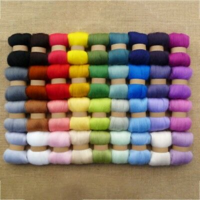 AU Roving Needlefelting Wool Corriedale Dyed Spinning Wet Felting Fiber 36 Color