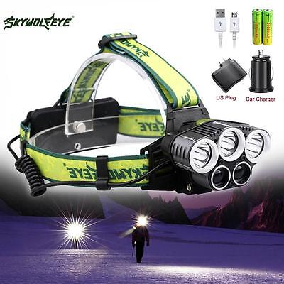 80000LM 5X XM-L T6 LED Rechargeable USB Headlamp +5000mAh Battery+AC Charger BE