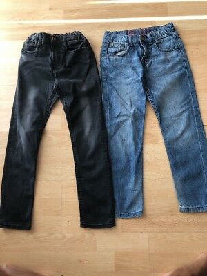 Two x Boys Zara adjustable waist Jeans Aged 6-7 Years (Black & Blue Jeans)