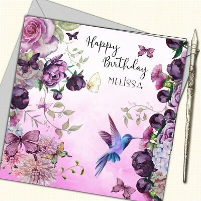 Personalised Birthday Card Mother Daughter Sister Friend 30th 40th 50th Flowers