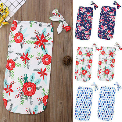Newborn Baby Floral Snuggle Swaddling Wrap Blanket Sleeping Bag Swaddle 2Pcs Set