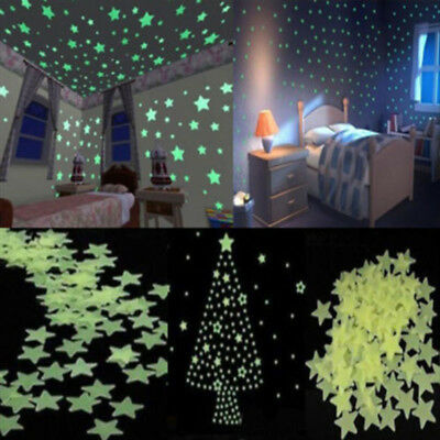 100Pcs Glow In The Dark Wall Stickers Home Room Bedroom Decor Luminescent Stars
