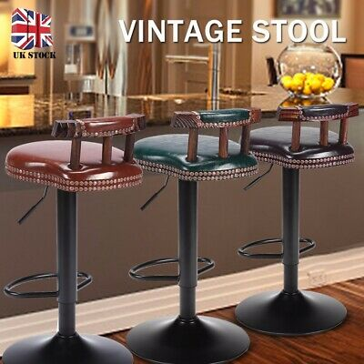 Industrial Vintage Rustic Retro Swivel Counter Bar Stool Cafe Chair Backrest UK