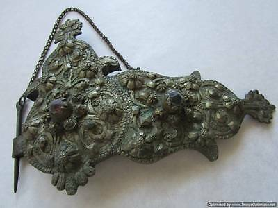 Turkey Ottoman Empire, major part of old silver buckles with stones, 190 g, RRR!