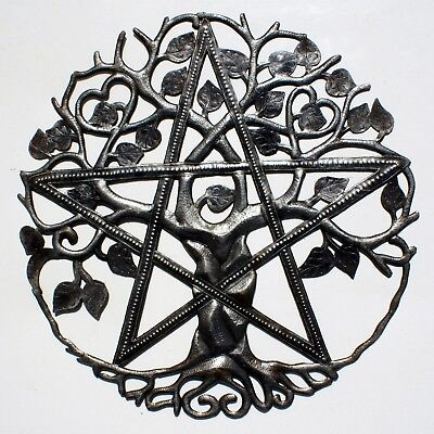 """Metal Tree of Life with Star Wall Art Haitian Home Decor Outdoor Sculpture 24"""""""