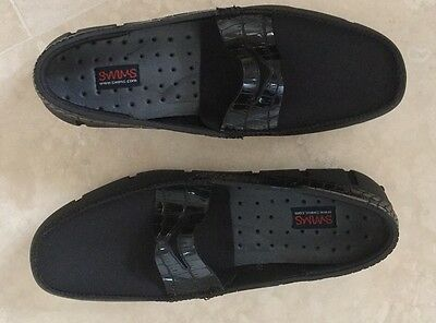 Swims 'penny Black' Loafers With Alligator  Trim Size Uk 6 Eu 40 Usa 7 New