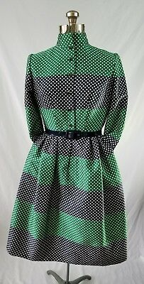 c075ca6f5684 Beautiful Vintage 60's Belted Blue Green Check Tailored Dress Pauline  Trigere S