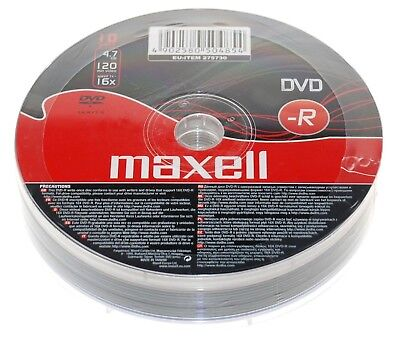 10 Maxell DVD-R Recordable Blank Discs BULK SHRINK WRAPPED Pack