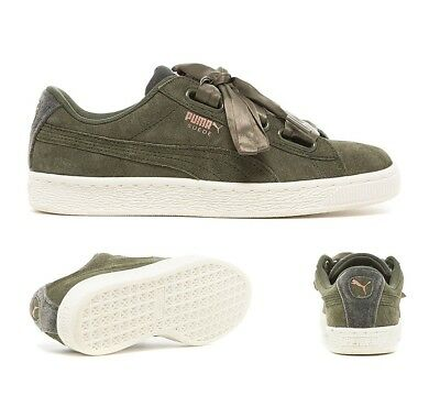 PUMA SUEDE HEART VR Velvet Rope Womens Size 10.5 Olive Green Rose ... 5b0891691