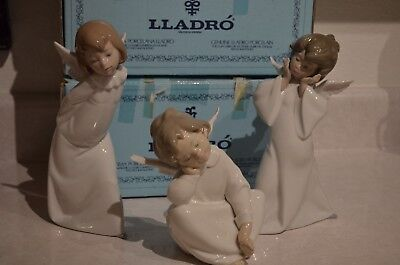 Lladro Angel Lot #4959 Mime #4960 Curious #4961 Dreaming All 3 Mint In Boxes!