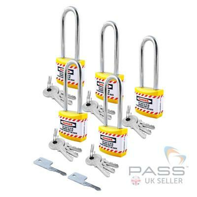 Lockout Long Shackle Jacket Padlock  - Key Different + Master, 5 Pack (Yellow)