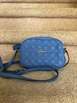 AUTHENTIC Guess Old School Crossbody Bag Quilted Blue With Silver hardware e250a7ee90d3c