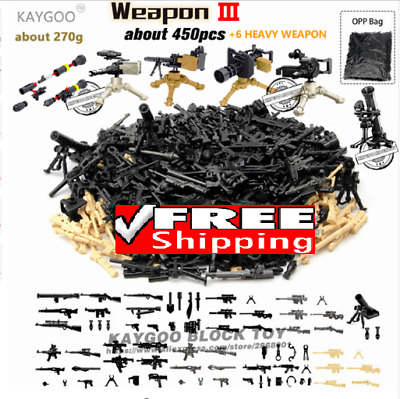 100pcs Custom Minifigure fit LEGO Toy Guns Military Weapon Army Soldiers SWAT