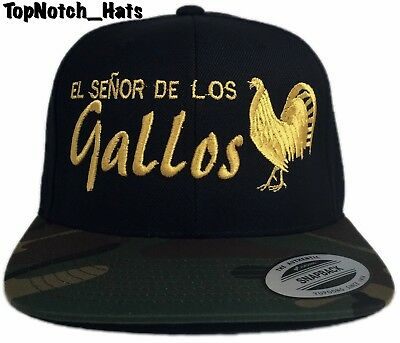 El Senor De Los Gallos Black,Gold And Camo Snap Back Brand New Ships Now !!!