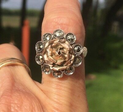 Antique Victorian 1800s Rose Marcasite Ring 10K Gold Sterling Silver Georgian