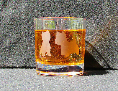 Westie dogs, Etched Whisky glass, Gift, Personalised, West Highland terrier