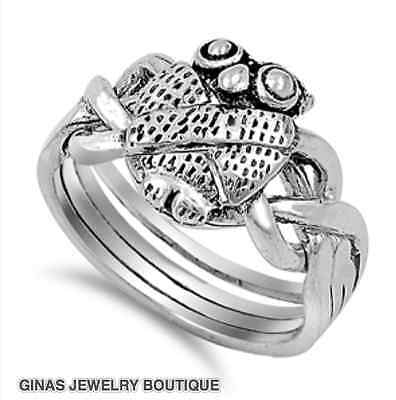 NICE OWL PRETTY PUZZLE FOUR Ring All Genuine Sterling Silver.925 Size 5,6,7,8,9,