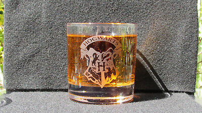 Harry Potter, Hogwarts, Etched Whisky glass, birthday, Gifts ,Personalised