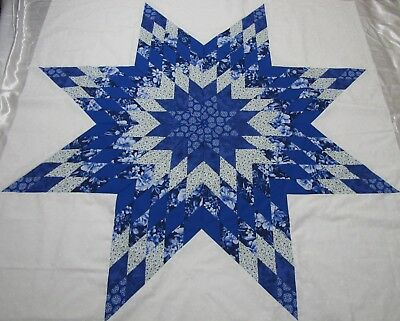 """Lone Star Patchwork Quilt Top """"Blues & Whites"""" PIECED~USA~Medallion Top 64""""Sq"""